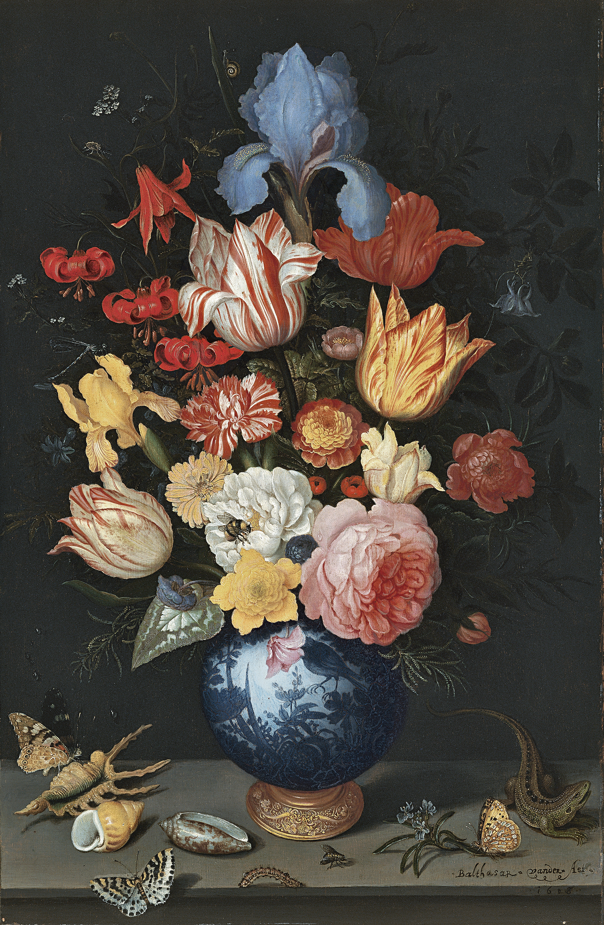 Museo Thyssen & Chinese Vase with Flowers Shells and Insects - Ast Balthasar van ...