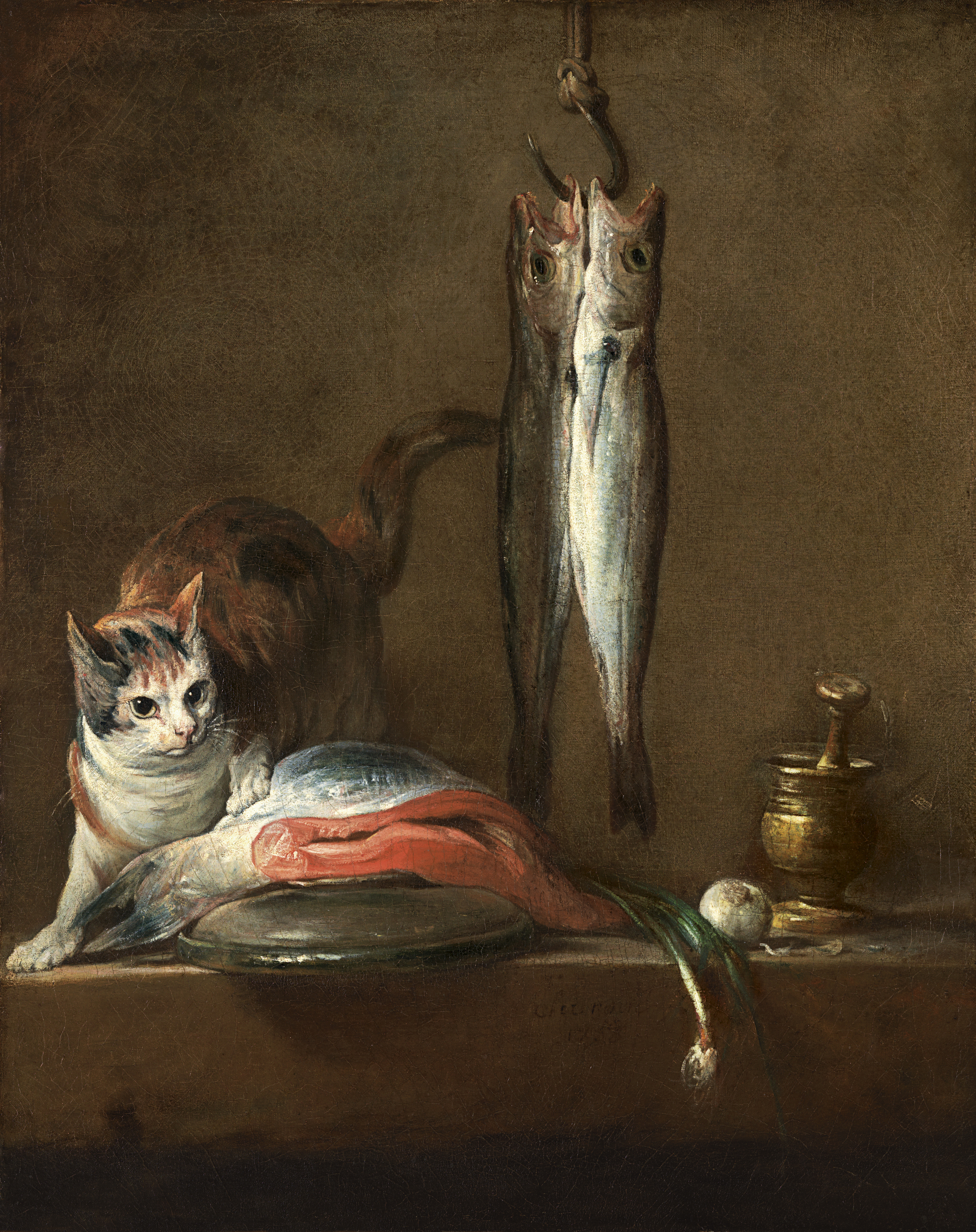 still life with cat and fish chardin jean baptiste simèon museo