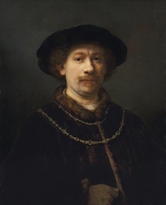 Self-portrait wearing a hat and two Chains