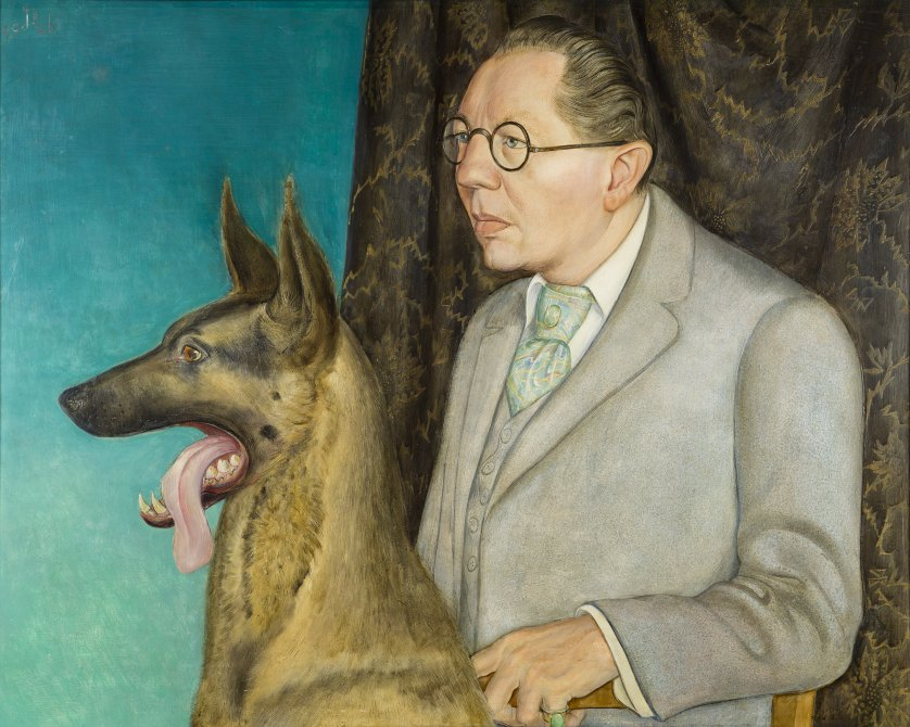 Hugo Erfurth with Dog. Hugo Erfurth con perro, 1926