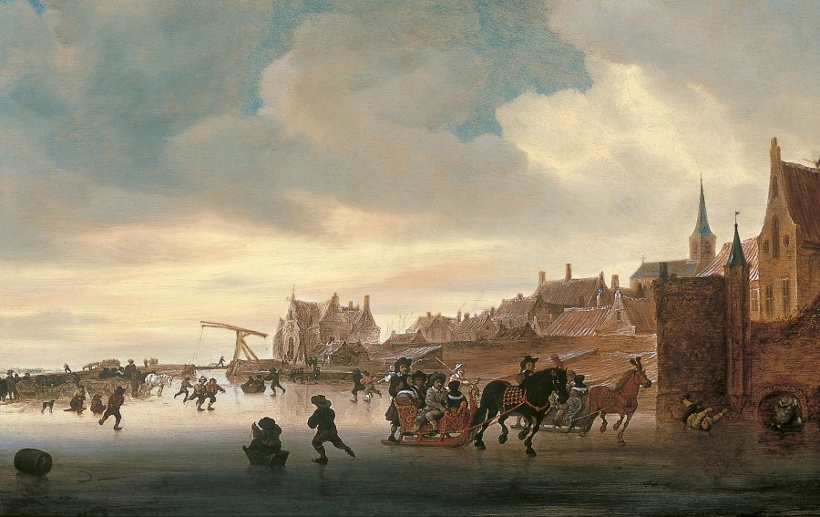 A Winter Landscape with Skaters and Sleighs before a Town