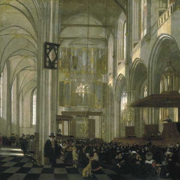 Interior of the Nieuwe Kerk, Amsterdam, during a Service