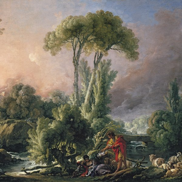 River Landscape with an Antique Temple