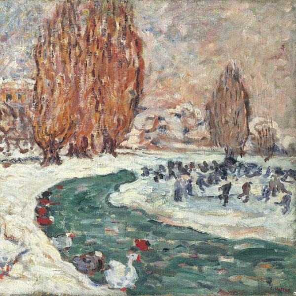 Skaters in Winter (The Garden of the Petit Trianón in Versailles) (?)