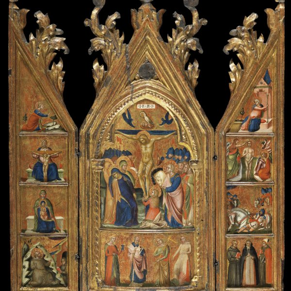 Portable Triptych with a central Crucifixion