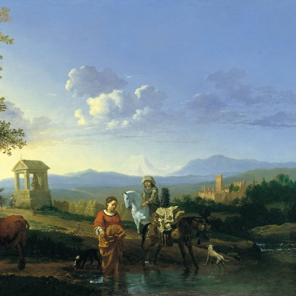 Italianate Landscape with Peasants and Animals