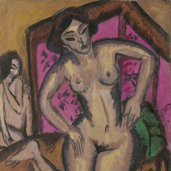 Kneeling Nude in front of Red Screen (verso: Seated Nude with Bent Leg 1921-1923)