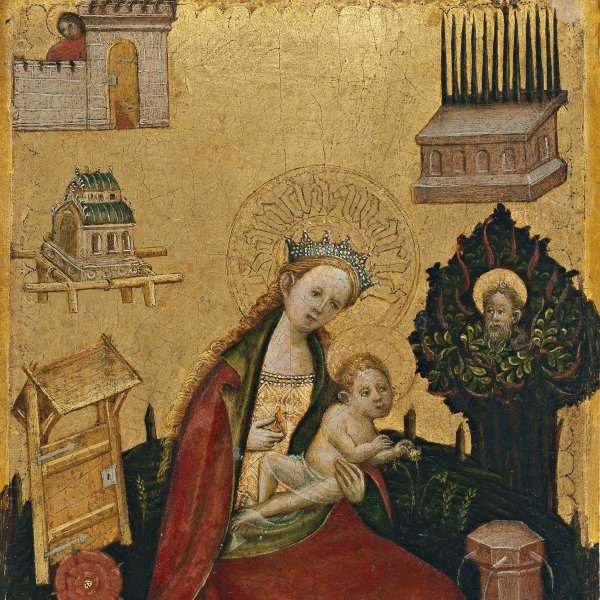 Diptych with symbols of the Virgin and Redeeming Christ: Virgin and Child in the Hortus Conclusus (Left wing)