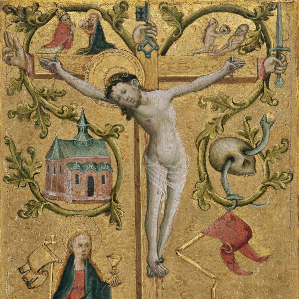 Diptych with symbols of the Virgin and Redeeming Christ: Christ with the Cross as Redemptor Mundi (Right wing)