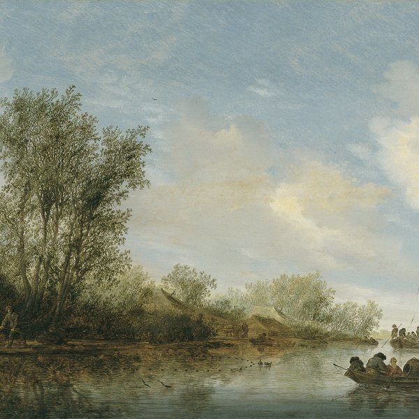 A River with Fishermen