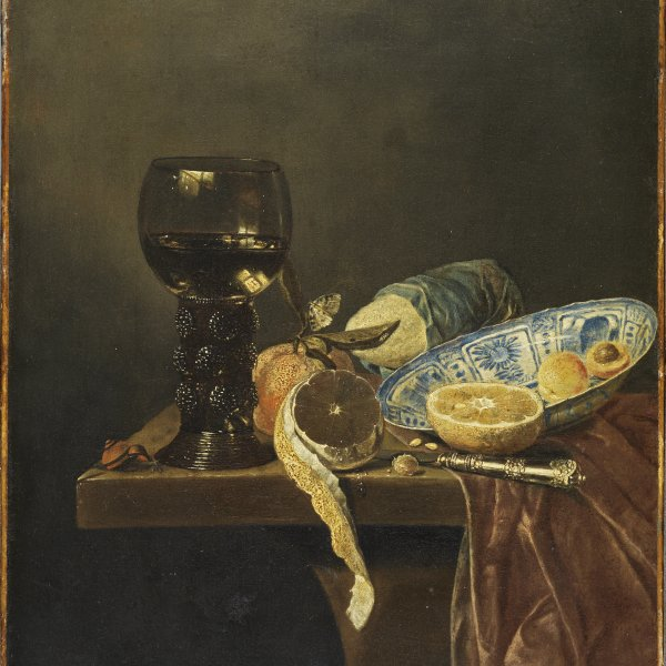 Still Life with Chinese Dish. Rummer, Knife, Bread and Fruit