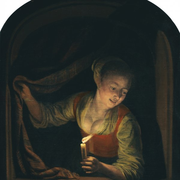 Young Woman with a Lighted Candle at a Window