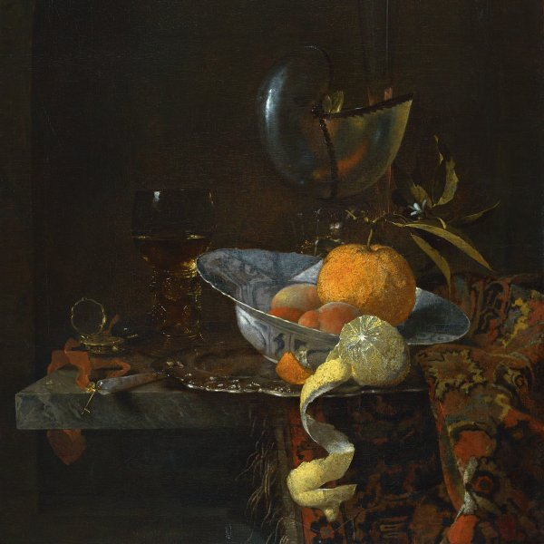 Still Life with porcelain Bowl and Nautilus Cup
