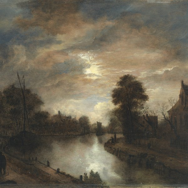 Moonlit Landscape with a Road beside a canal