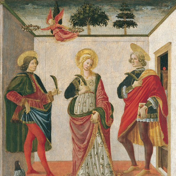 Saint Cecilia between Saint Valerian and Saint Tiburtius with a Donor