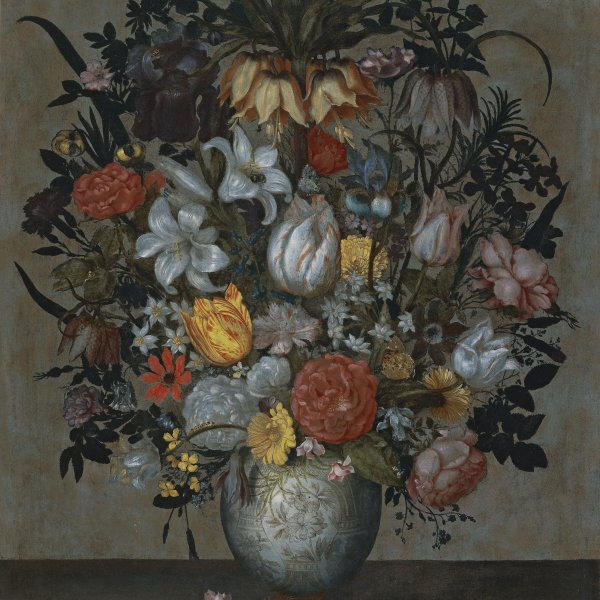 Chinese Vase with Flowers, Shell and Insects