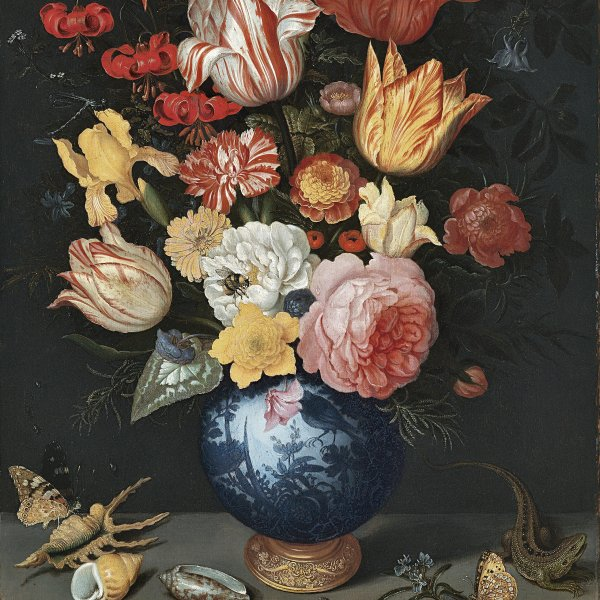 Chinese Vase with Flowers, Shells and Insects