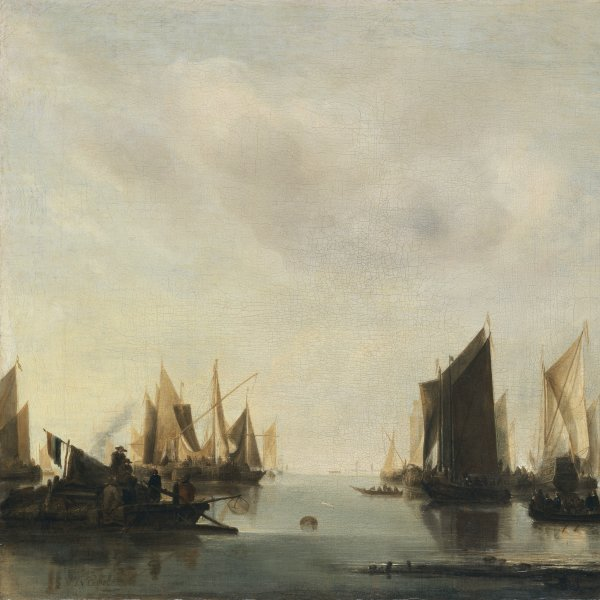 Coastal Scene with Sailing Vessels