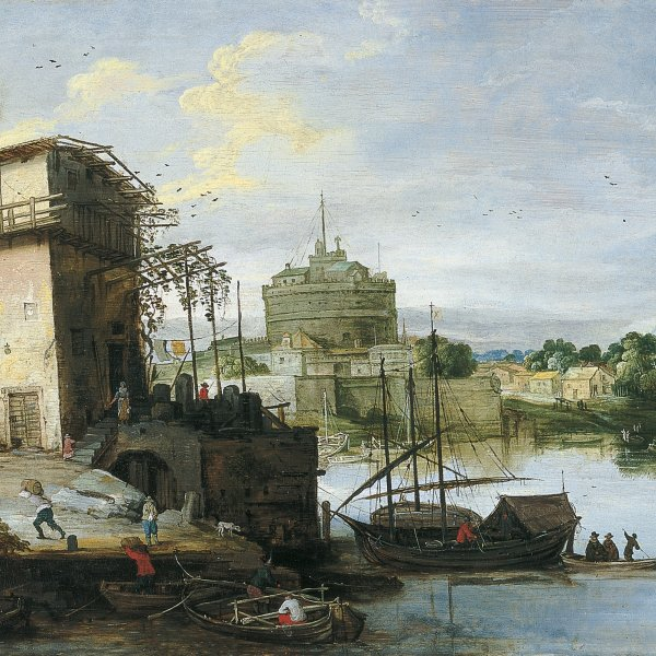 View of a River Port with the Castel Sant'Angelo