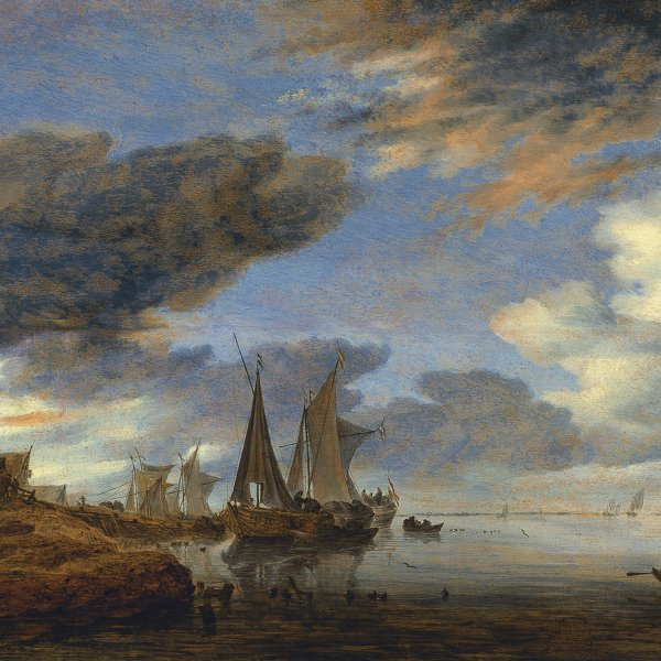 Sailing Vessels moored near a Village