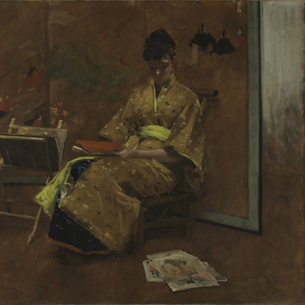 A Girl in Japanese Gown. The Kimono