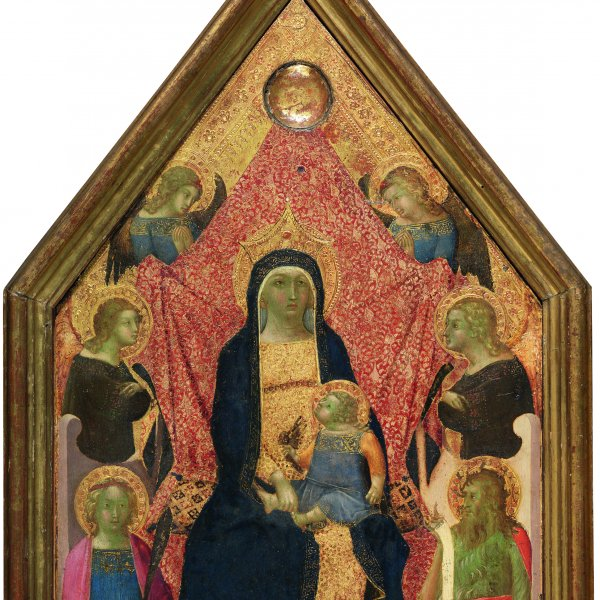 The Virgin and Child enthroned between four Angels, a Martyr Saint and Saint John the Baptist