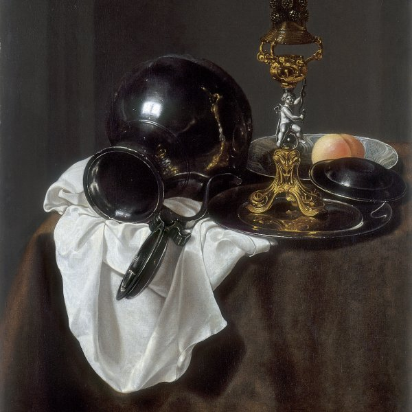 Still Life with Glass of Wine, pewter Jug and other Objects