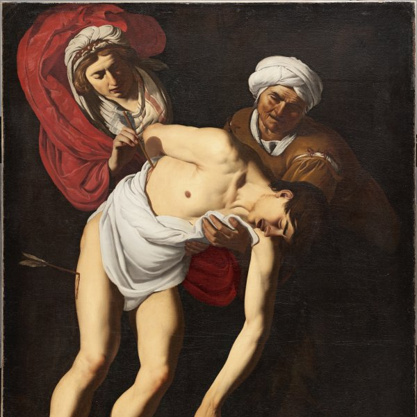 Saint Sebastian attended by Saint Irene and her Maid