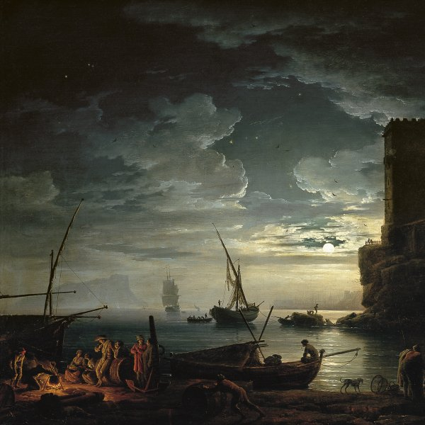 Night: a Mediterranean Coast Scene with Fishermen and Boats