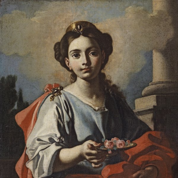 A Female Saint holding a Platter with Roses