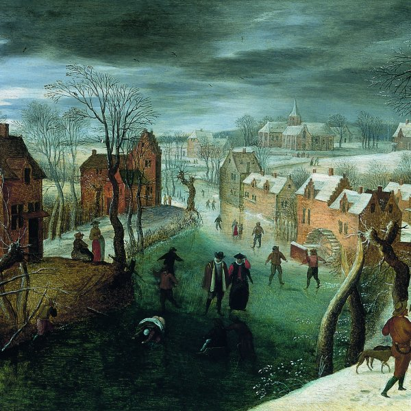 A Winter Landscape with a Village and Skaters on a Frozen River, Hunters in the Foreground