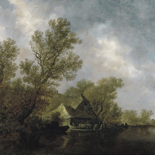 River Landscape with Ferry Boat and Cottages