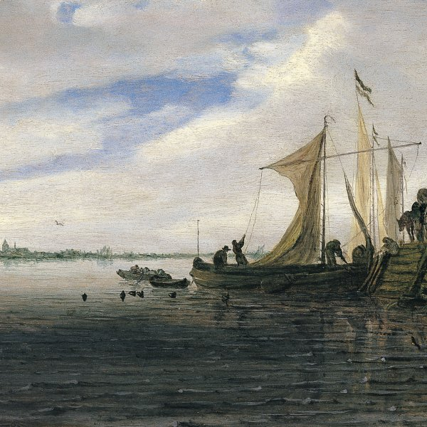 A River Landscape with Figures and a Wagon on a Jetty with Sailing Boats