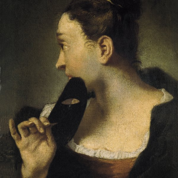 Portrait of a Young Woman in Profile with a Mask in her Right Hand