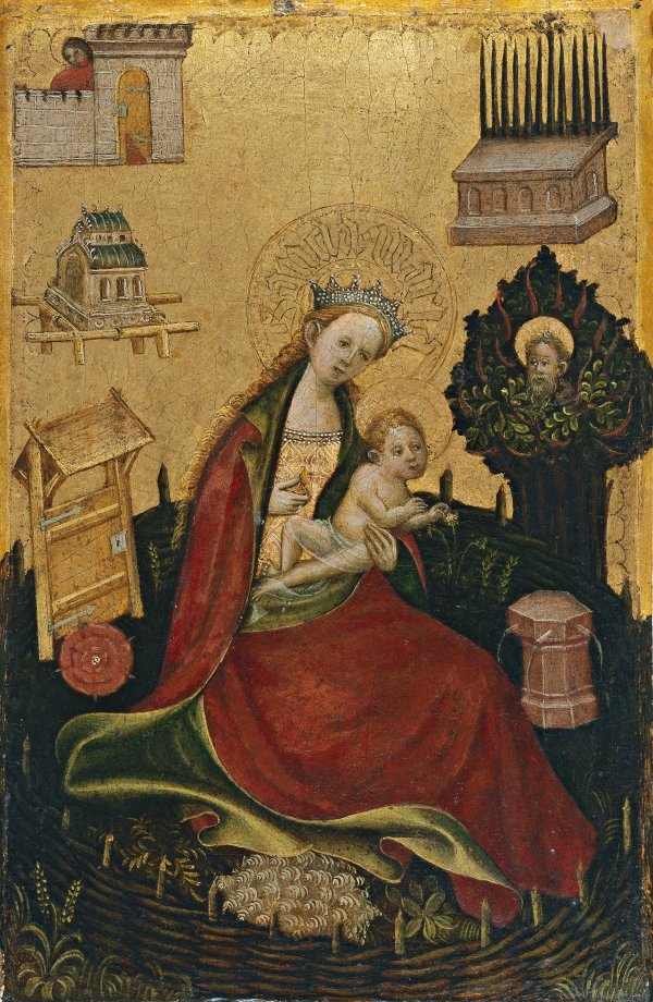 Diptych With Symbols Of The Virgin And Redeeming Christ Virgin And