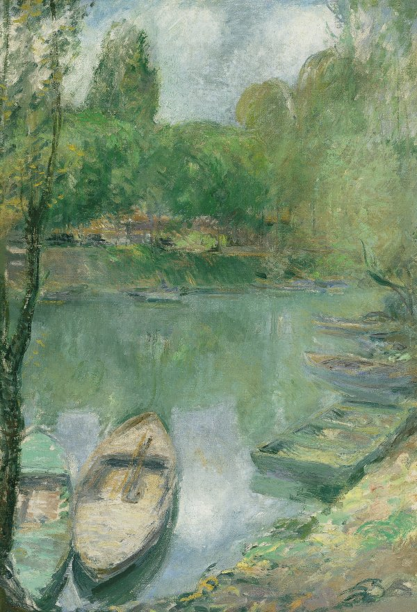 09041e78618a6 Boats moored on a Pond - Twachtman